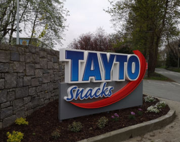 Exterior Signage for at the entrance of Tayto Snacks Offices in Dublin